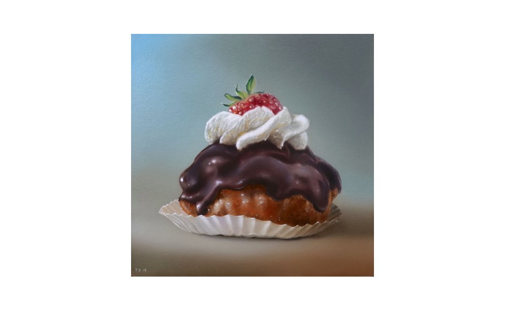 Dutch pastry, oil on masonite