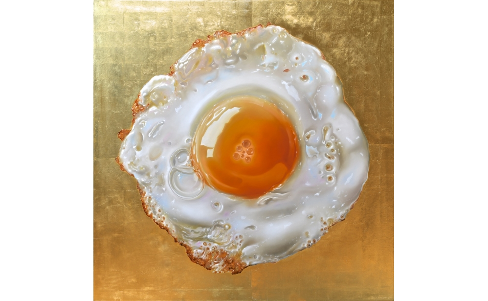 Iconic Egg, oil and goldleaf on linen