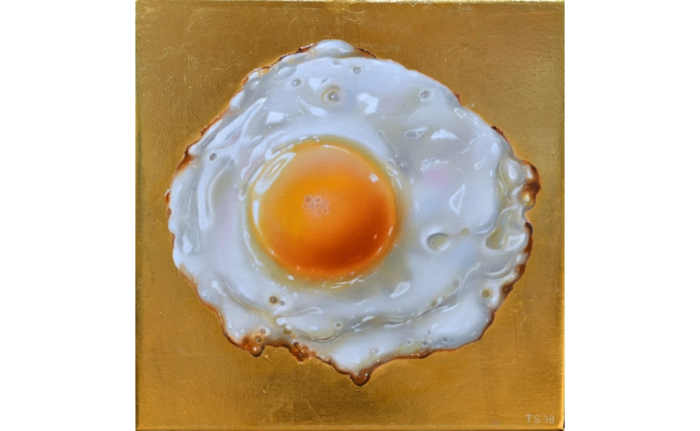 Small Golden Egg, oil and 24 karat gold on linen