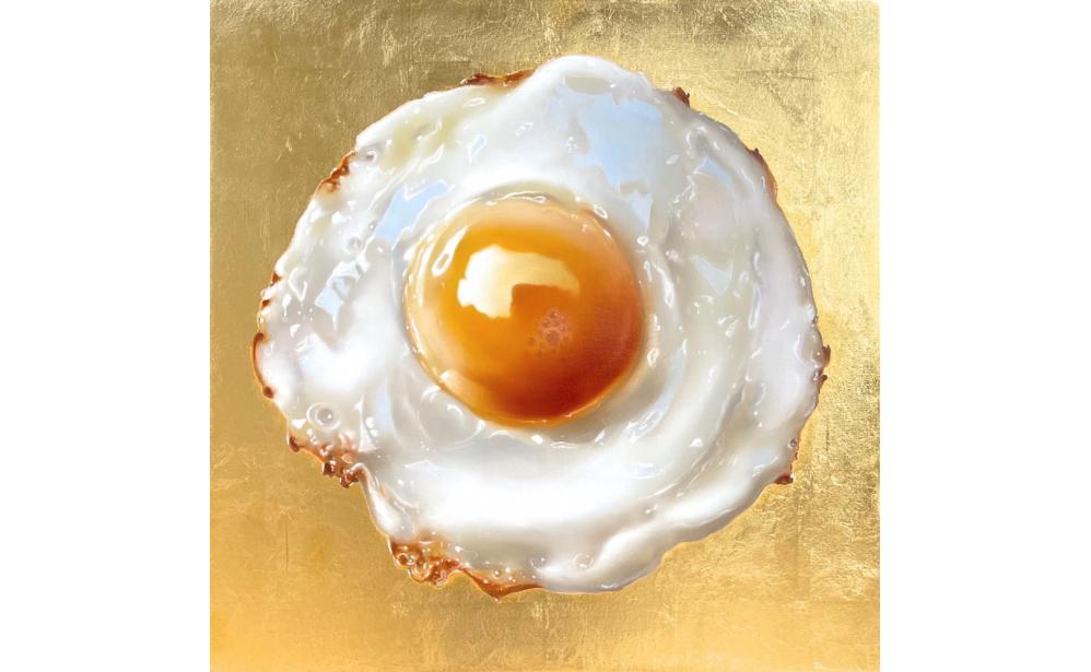 Golden Egg 2020, oil and 24 krt goldleaf on linen, € 25.000,-